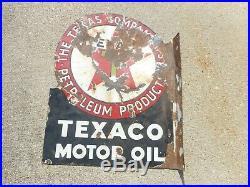 Vintage Original TEXACO Gas Station Oil Porcelain Advertising Flange SIGN