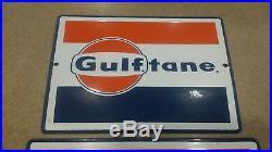 Vintage Pair of Original Gulftan GULF Porcelain Gas Pump Plate Sign Gas & Oil