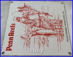 Vintage Penn Reels Porcelain Sign Fly Fishing Rod Tackle Yo Zuri Rapala Gas Oil