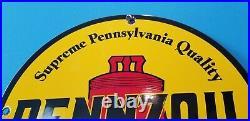 Vintage Pennzoil Gasoline Porcelain Quality Lube Oil Service Station Pump Sign
