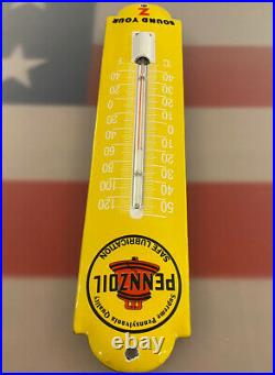Vintage Pennzoil Porcelain Thermometer Gas Staion Motor Oil Service Pump Plate