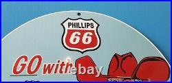 Vintage Phillips Gasoline Porcelain Gas Western Cowboy Service Station Pump Sign