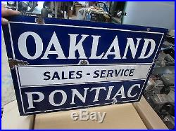 Vintage Porcelain Dealership Sign Oakland Pontiac