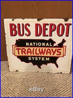 Vintage Porcelain Double Sided Trailways Bus Stop Sign Rare Old Original Auto