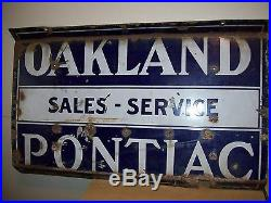 Vintage Porcelain Oakland Pontiac Sales-Service 2 Sided Sign-Garage-Gas Station