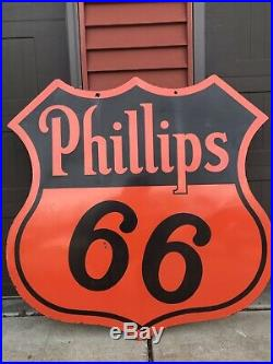 Vintage Porcelain PHILLIPS 66 Gasoline OIL TIRE AUTO Sign 48