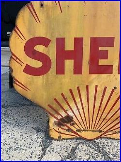 Vintage Porcelain Shell Gasoline Sign 4 Double Sided Original Wall Decor Art