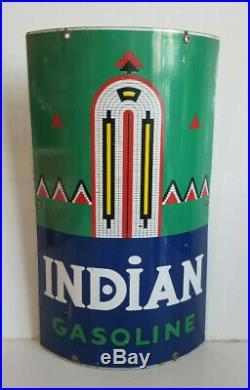 Vintage Porcelain Sign Indian Visible Gas pump Texaco