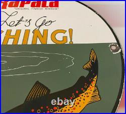 Vintage Rapala Takle Fishing Lures Porcelain Sign Gas Oil Mercury Outboard Penn