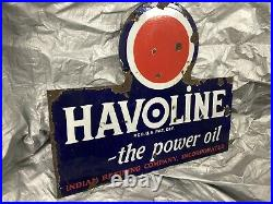 Vintage Rare Havoline Indian Refining Company Porcelain Sign Double