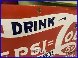 Vintage Rare Pepsi-Cola Porcelain 5 Cent Sign GAS OIL COLA Single Dot 32 x 16