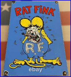 Vintage Rat Fink Porcelain Sign, Hot Rod, Ed Big Daddy Roth, Gas, Oil, Ford