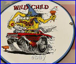 Vintage Rat Fink Wild Child Porcelain Sign Ed Big Daddy Roth Hot Rod Gas Oil