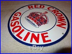 Vintage Red Crown Gasoline 11 3/4 Porcelain Metal Gas & Oil Sign! Pump Plate