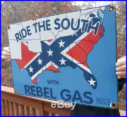 Vintage Ride The South With Rebel Gas Porcelain Sign Southern Dixie'usa 53' Al