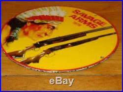 Vintage Savage Arms Shotgun & Indian 11 3/4 Porcelain Metal Gasoline Oil Sign