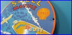 Vintage Shell Gasoline Porcelain Gas Outboard Boat Service Station Pump Sign