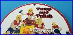 Vintage Shell Gasoline Porcelain Gas Service Pin Up Girl Pump Polish Wash Sign