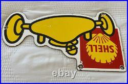 Vintage Shell Indy 500 Gasoline Porcelain Sign Race Car Pump Plate Pit Stop Oil