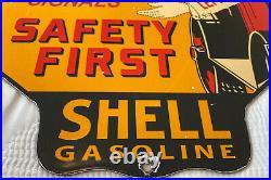 Vintage Shell Oil Porcelain Sign Gasoline Station Safety Advisory Motor Service