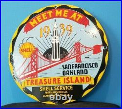 Vintage Shell Porcelain Gas Oil Treasure Island Golden Gate Service Station Sign