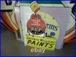 Vintage Sherwin Williams Cover The Earth Flanged Porcelain Sign 36 X 24