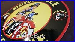 Vintage Signal Gas Porcelain Harley Motorcycle Pinup Service Station Pump Sign
