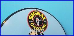 Vintage Signal Gasoline Porcelain Gas Motor Oil Purr Pull Service Pump Sign