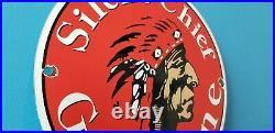 Vintage Silent Chief Porcelain Native American Indian Service Station Pump Sign