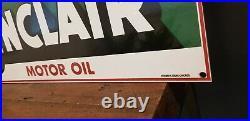 Vintage Sinclair Gasoline Porcelain Dino Motor Oils Service Station Pump Sign