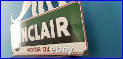 Vintage Sinclair Gasoline Porcelain Gas Motor Oil Service Large Barn Diecut Sign