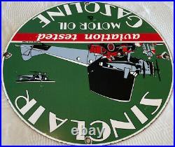 Vintage Sinclair Gasoline Porcelain Sign Station Pump Plate Motor Oil Aviation