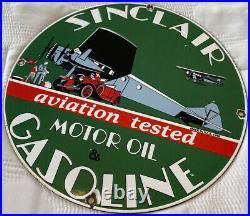 Vintage Sinclair Gasoline Porcelain Sign Station Pump Plate Motor Oil Lubester