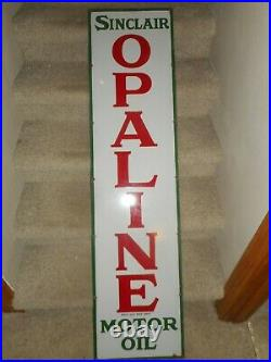 Vintage Sinclair Opaline Motor Oil Gas Porcelain Vertical Advertising Sign