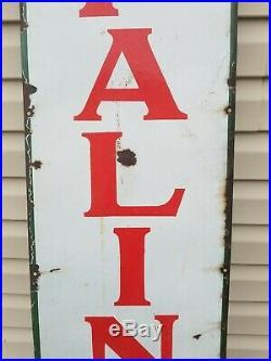 Vintage Sinclair Opaline Motor Oil Original Porcelain Sign 5 x 15 Great Patina