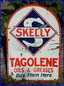 Vintage Skelly Double-Sided Porcelain Tagolene Gasoline Advertising Sign