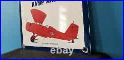 Vintage Skelly Gasoline Porcelain Gas Oil Aviation Airplane Service Station Sign