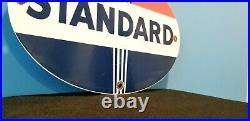Vintage Standard Gasoline Porcelain Gas Service Station Torch Pump Sign