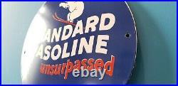 Vintage Standard Gasoline Porcelain Gas Unsurpassed Service Station Pump Sign