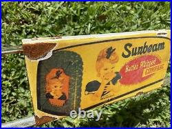 Vintage Sunbeam Bread Porcelain Door Push Bar Sign Country Grocery Store Whipped