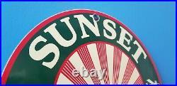 Vintage Sunset Gasoline Porcelain Oil Sunrise Service Station Pump Plate Sign