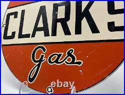 Vintage Super Clark's Gasoline Porcelain Sign Gas Station Motor Oil Pump Plate