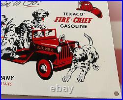 Vintage Texaco Fire-chief Gasoline Porcelain Sign 101 Dalmatians Fighter Truck