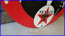 Vintage Texaco Gasoline Porcelain Service Station Gas Attendant Pump Plate Sign