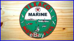 Vintage Texaco Marine Porcelain Sign Nautical Gas Oil Pump Plate Service Station
