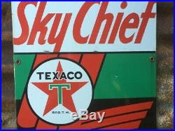 Vintage Texaco SkyChief Porcelain Sign Gas Station Oil Gasoline 12x18 Inch Old