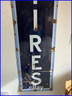 Vintage US TIRES Large Vertical Porcelain Sign 1930's 1940's 18x72