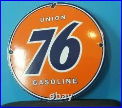Vintage Union 76 Gasoline Porcelain Gas Service Station Pump Plate Ad Sign