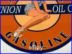 Vintage Union Oil Aviation Gasoline Advertising 12 Porcelain Sign Model Girl