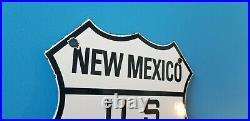 Vintage Us Route 66 Porcelain Gasoline Auto New Mexico Road Shield Sign